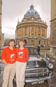 Tim and Joanne outside the Radcliffe Camera in Oxford, UK